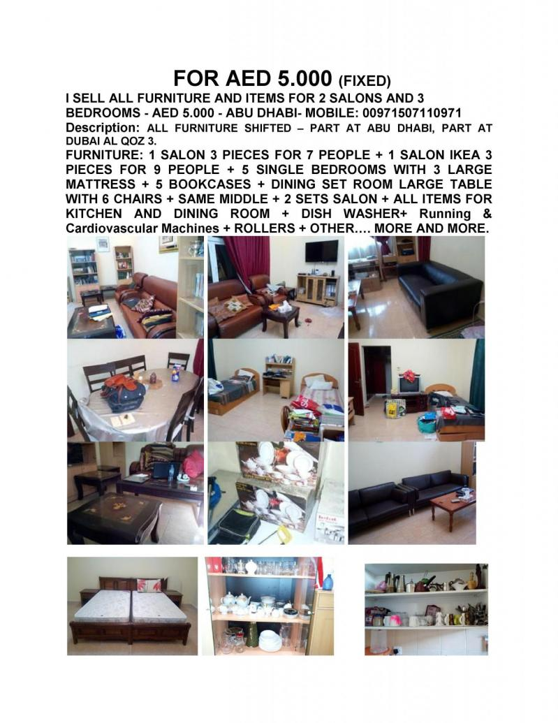 I sell all furniture and items for 2 salons and 3 bedrooms